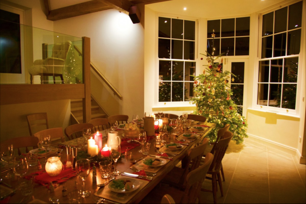 Darley House kitchen set for Christmas dinner