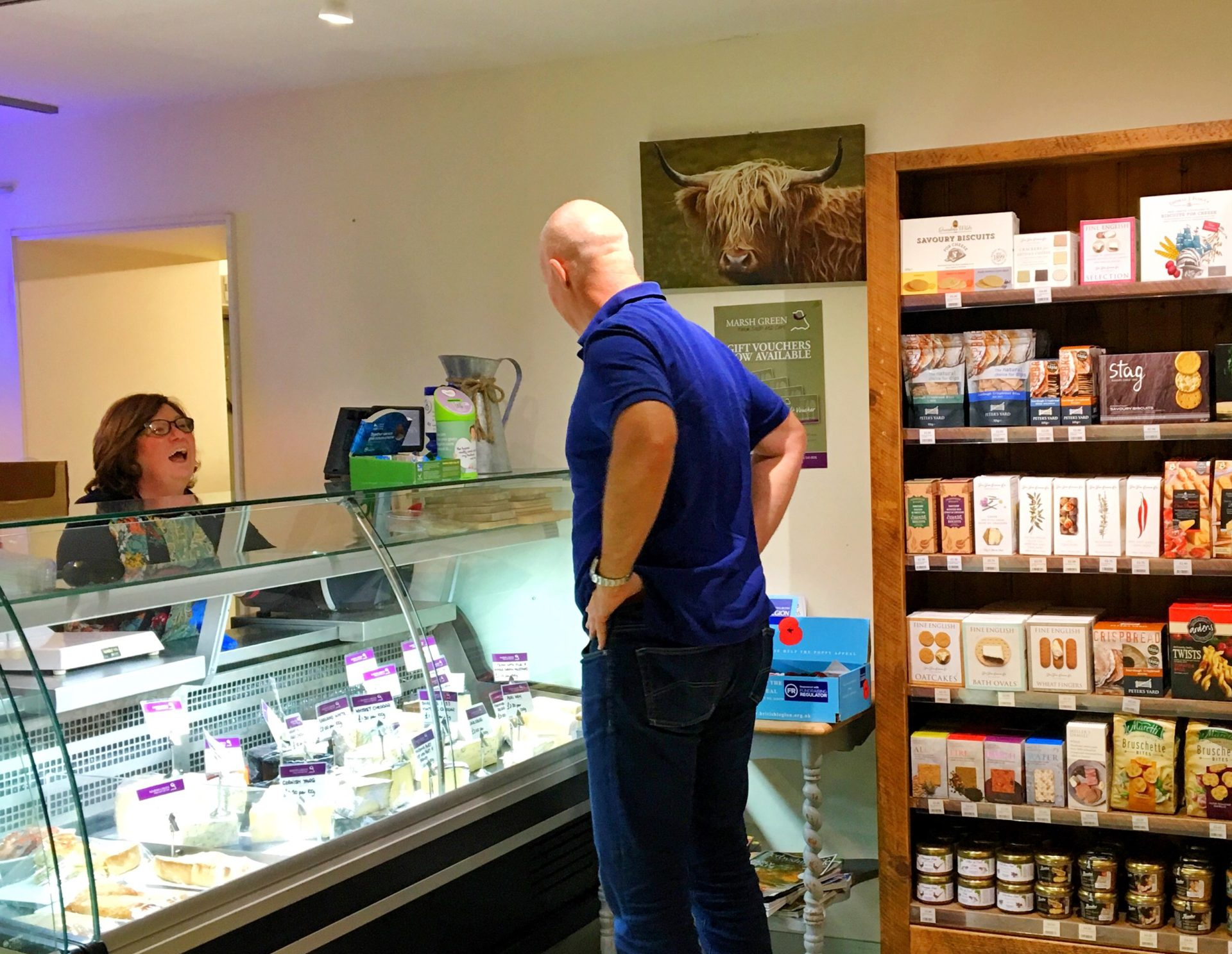 Photo of Wendy serving in the Deli at Marsh Green Farm shop