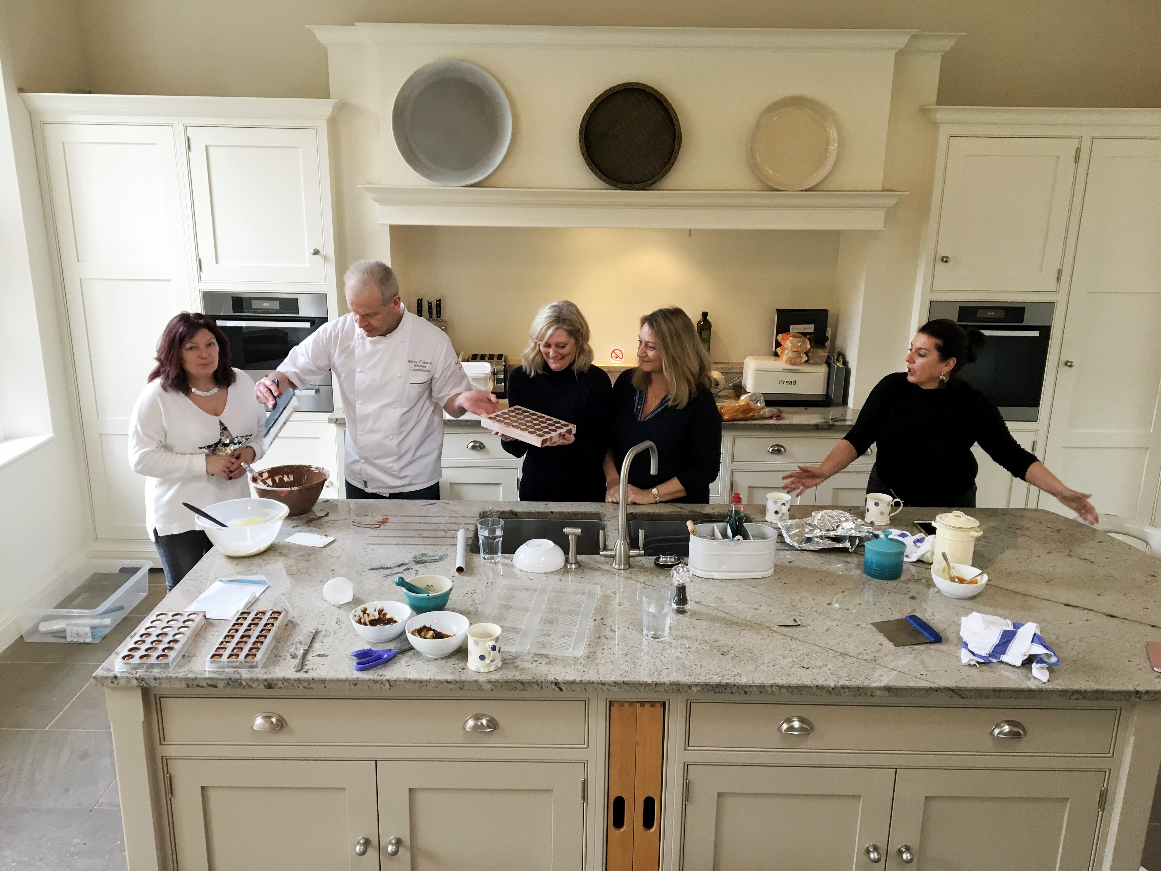 Chocolate making with Barry Colenso around the Darley House kitchen island unit