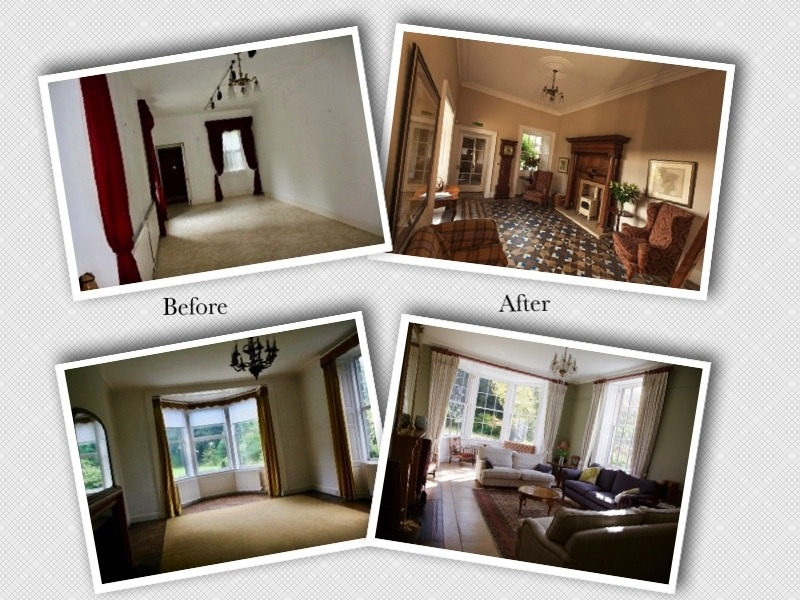 Four photos: Two showing the entrance hall before and after the restoration and two showing the living room before and after the restoration