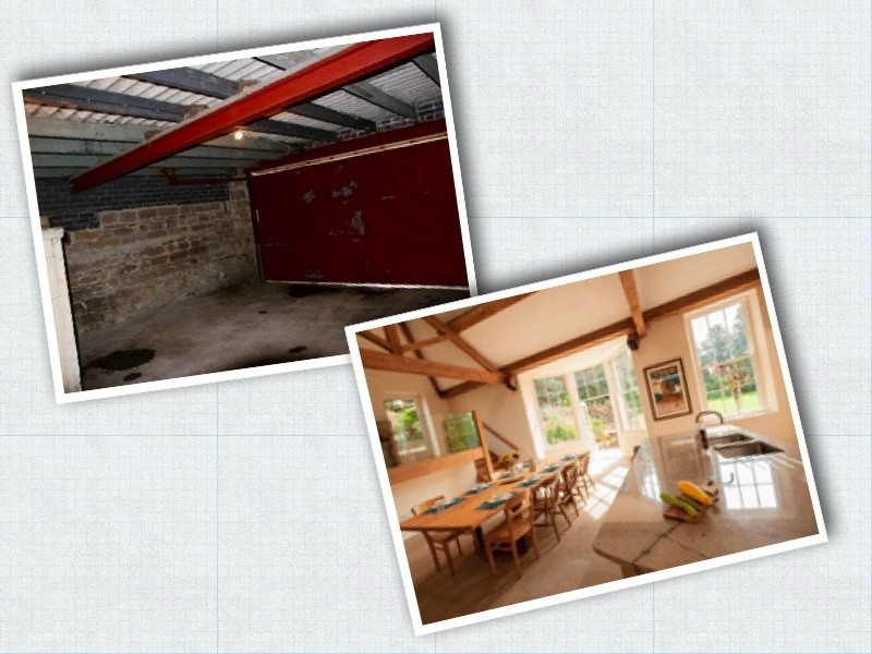 Two photos: one of the double garage (before the restoration) and one of the open plan kitchen dining area with pitched roof restored
