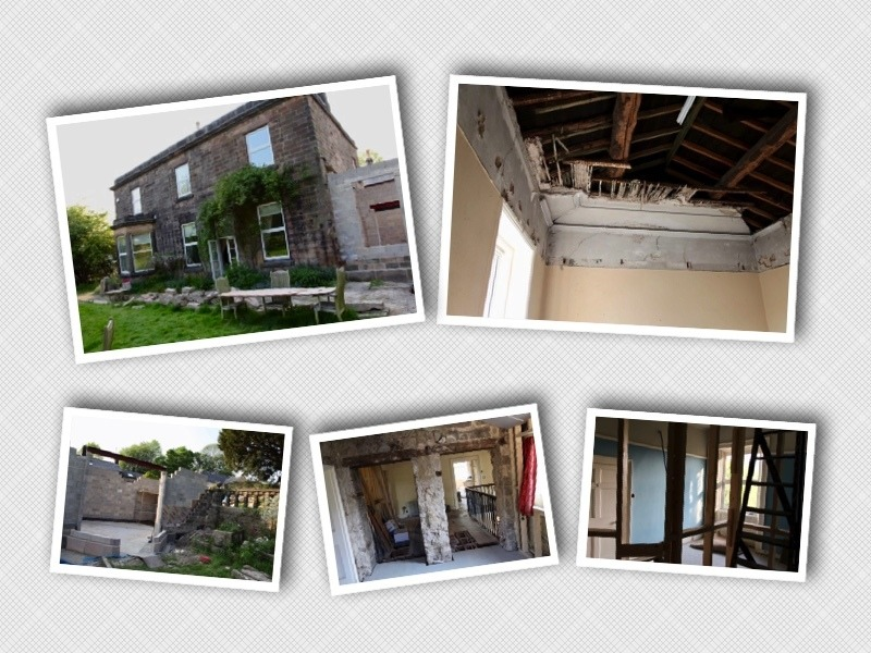 Five photos showing various stages of the restoration work